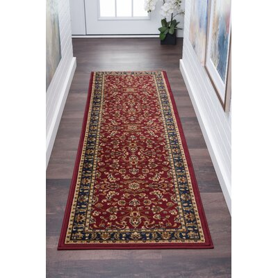 Clarence Red/Navy Blue Area Rug Rug Size: Rectangle 2 x 10