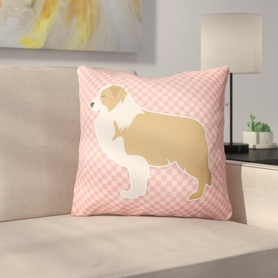 Border Collie Square Indoor/Outdoor Throw Pillow Size: 18 H x 18 W x 3 D, Color: Pink