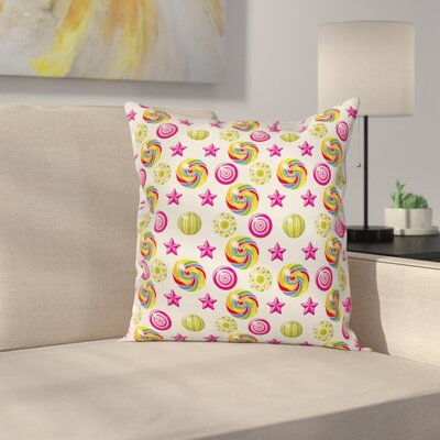 Cute Yummy Candy Lollipop Square Pillow Cover Size: 24 x 24