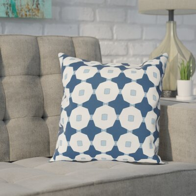Waller Button Up Geometric Outdoor Throw Pillow Size: 18 H x 18 W, Color: Blue