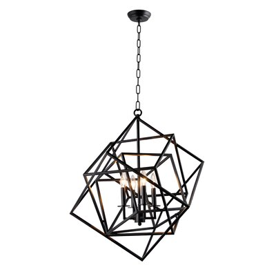 Ellenboro 4-Light Geometric Pendant Finish: Black