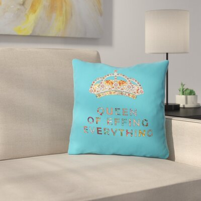 Her Daily Motivation Indoor/outdoor Throw Pillow Size: 16 H x 16 W x 4 D, Color: Blue