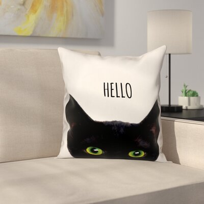Hello Black Cat Throw Pillow in , Cover Only Size: 18 x 18