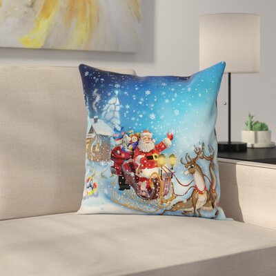 Christmas Santa in Sleigh Toys Square Pillow Cover Size: 18 x 18