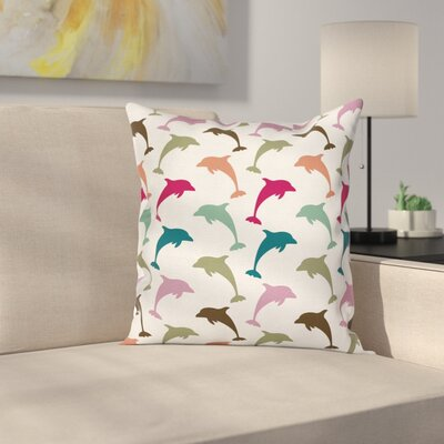 Animal Colorful Dolphins Art Square Pillow Cover Size: 18 x 18
