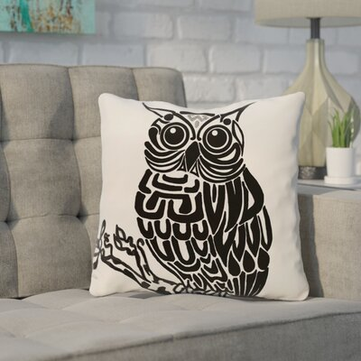 Galvan Animal Outdoor Throw Pillow Color: Off White/Black