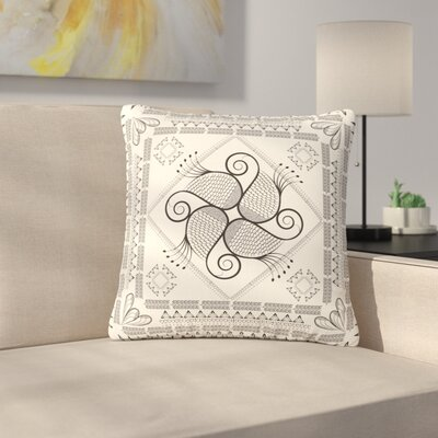 Famenxt Paisley Into the Dreams Dark Digital Outdoor Throw Pillow Color: Beige, Size: 16