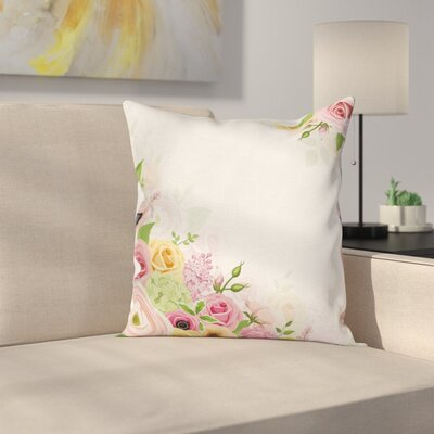 Anemone Flowers Leaves Square Cushion Pillow Cover Size: 24 x 24