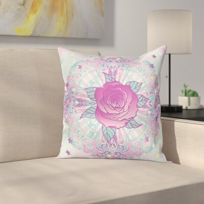 Psychedelic Rose Mandala Square Cushion Pillow Cover Size: 24 x 24