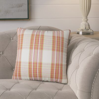 Posiedon Plaid Cotton Throw Pillow Color: Rose Gold