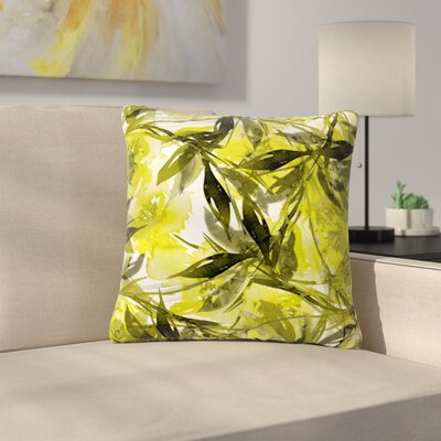 Floral Fiesta Throw Pillow Size: 16 H x 16 W x 6 D, Color: Yellow / Gray
