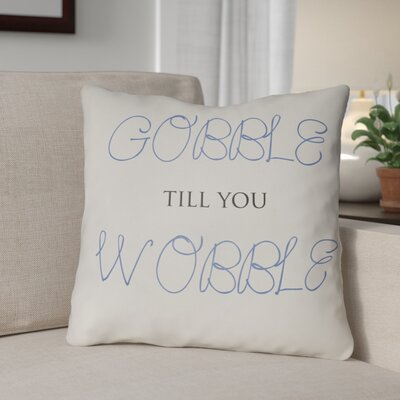 Gobble Wobble Indoor/Outdoor Throw Pillow Size: 18 H x 18 W x 4 D, Color: White/Blue