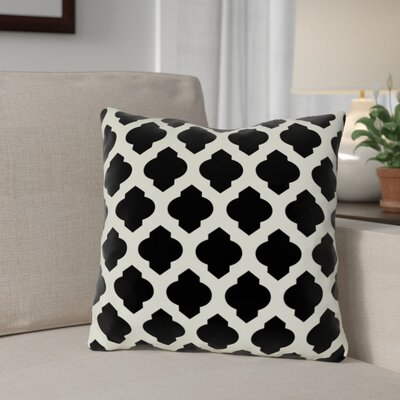 Flannigan Throw Pillow Size: 18 H x 18 W, Color: Black Ivory
