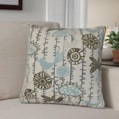 Patterson Floral Cotton Throw Pillow Cover Color: Blue Natural