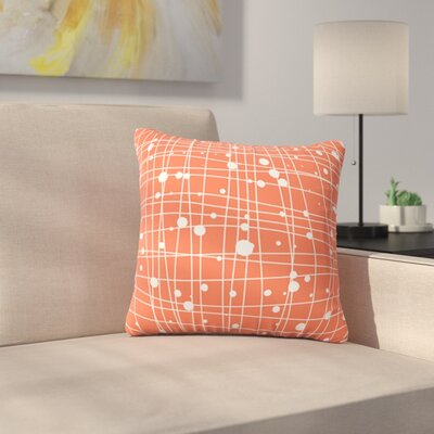 Woven Web by Budi Kwan Outdoor Throw Pillow Color: Coral