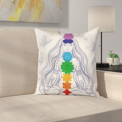 Zen Yoga Meditation Lotus Pose Square Pillow Cover Size: 24 x 24