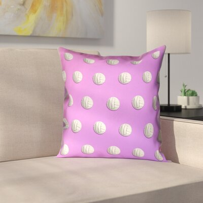 Volleyball 100% Cotton Pillow Cover Size: 26 x 26, Color: Pink