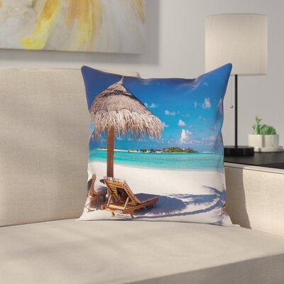 Island Caribbean Sealife Square Pillow Cover Size: 18