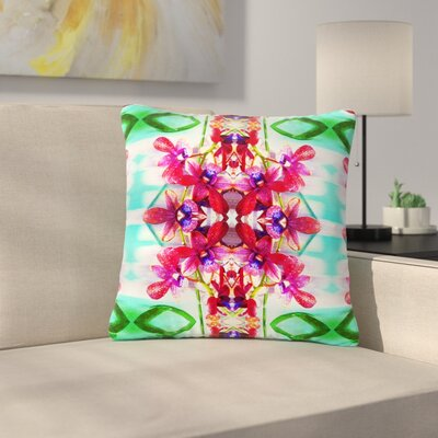 Dawid Roc Tropical Floral Orchids 2 Floral Outdoor Throw Pillow Size: 16 H x 16 W x 5 D