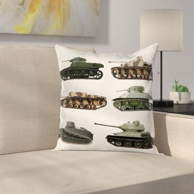 Fabric Case Second World War Tanks Square Pillow Cover Size: 16 x 16