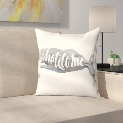 Jetty Printables Whalecome Sign Throw Pillow Size: 18 x 18