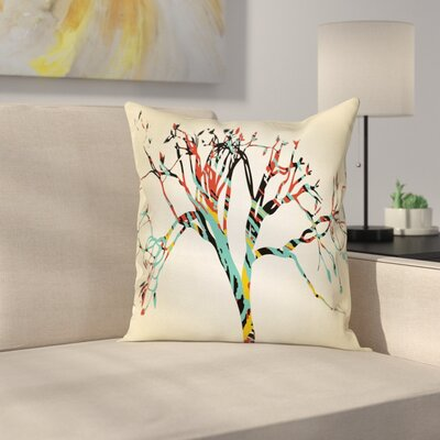 Abstract Tree Square Pillow Cover Size: 24 x 24
