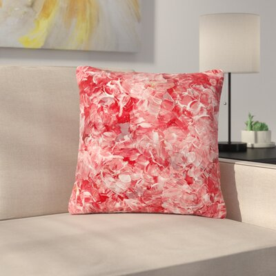 Ebi Emporium Bloom on! Abstract Outdoor Throw Pillow Color: Red/White, Size: 16 H x 16 W x 5 D