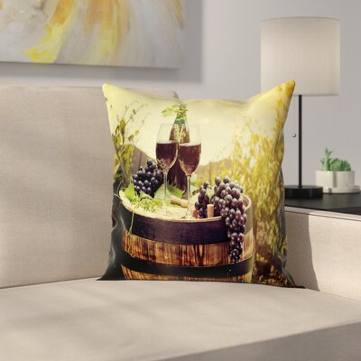 Wine Scenic Tuscany Vineyard Square Pillow Cover Size: 18 x 18
