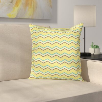 Chevron Retro Zigzag Square Cushion Pillow Cover Size: 18 x 18