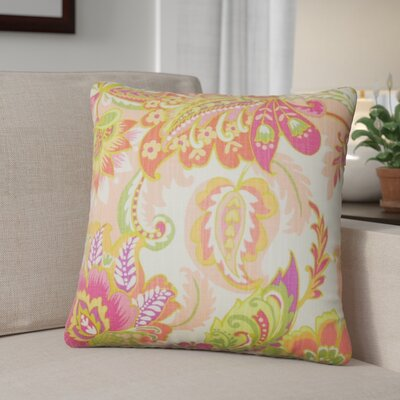 Fili Floral Cotton Throw Pillow Color: Melon