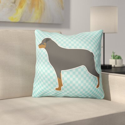 Rottweiler Square Indoor/Outdoor Throw Pillow Size: 14 H x 14 W x 3 D, Color: Blue