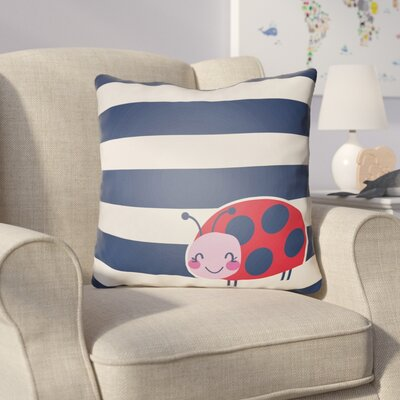 Colinda Ladybug Throw Pillow Size: 20 H x 20 W x 4 D, Color: White/Blue