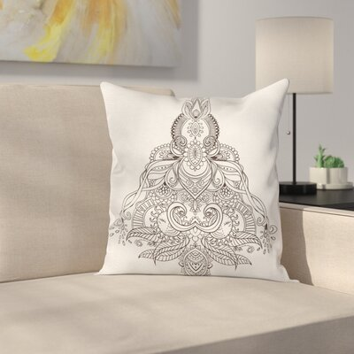 Indian Lotus Sun Henna Square Pillow Cover Size: 24 x 24