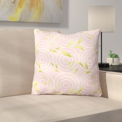 Hummer Circles on Watercolor Outdoor Throw Pillow Color: Pink