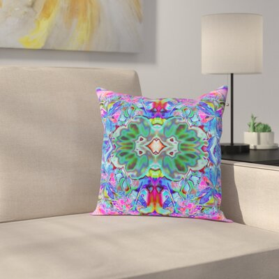Orchids Square Outdoor Throw Pillow Size: 18 H x 18 W x 2 D, Color: Blue/Pink
