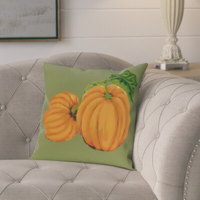 Pinero Pumpkin Patch Holiday Print Throw Pillow Size: 18 H x 18 W, Color: Green