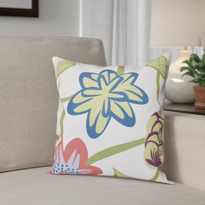 Denizens Tropical Floral Print Throw Pillow Size: 26 H x 26 W, Color: Coral