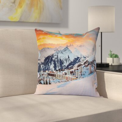 Nature Winter Season Mountain Square Pillow Cover Size: 24