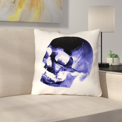 Waterproof Skull Throw Pillow Color: Blue/Black/White, Size: 16 x 16