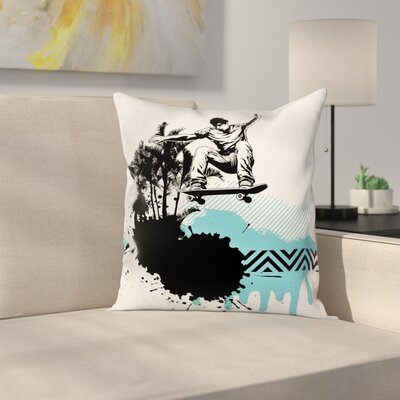 Grunge Young Boy Skater Exotic Cushion Pillow Cover Size: 16 x 16