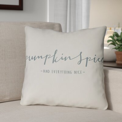 Pumpkin Spice Indoor/Outdoor Throw Pillow Size: 20 H x 20 W x 4 D, Color: White/Green