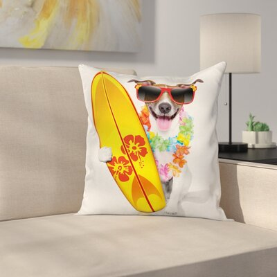 Surf Dog Glasses Square Cushion Pillow Cover Size: 16 x 16