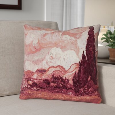 Lapine Wheatfield with Cypresses Suede Throw Pillow Color: Red, Size: 18 x 18