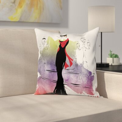 Elegant Fashion Lady Retro Art Square Pillow Cover Size: 16 x 16