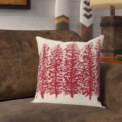 Amak Through the Woods Flower Print Throw Pillow Size: 26 H x 26 W, Color: Cranberry/Burgundy