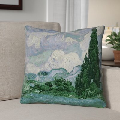 Bristol Woods Wheatfield with Cypresses Throw Pillow Color: Blue/Green, Size: 14