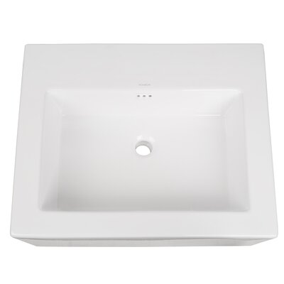 Prominent Ceramic Rectangular Vessel Bathroom Sink with Overflow Faucet Mount: No Faucet Hole