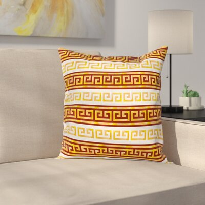 Ancient Meanders Square Cushion Pillow Cover Size: 18 x 18