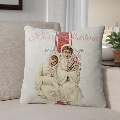 Maddix Children At Christmas Outdoor Throw Pillow Size: 18 x 18