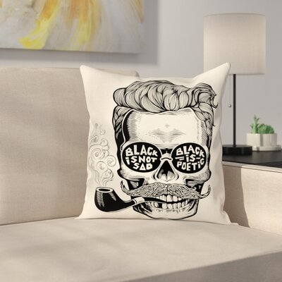 Skull with Pipe Glasses Square Cushion Pillow Cover Size: 18 x 18